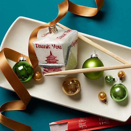 Chinese Take-Out Ornament, White/Red
