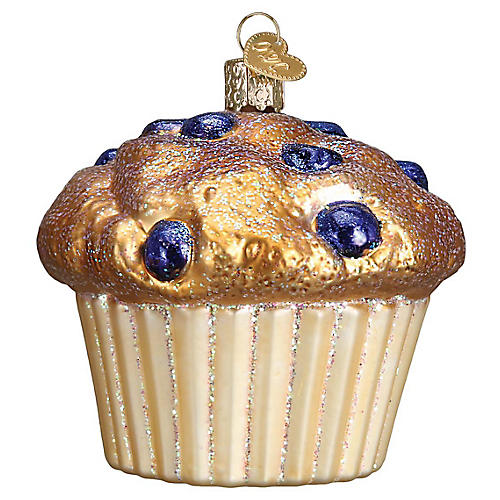 """3"""" Blueberry Muffin Ornament, Gold/Blue"""