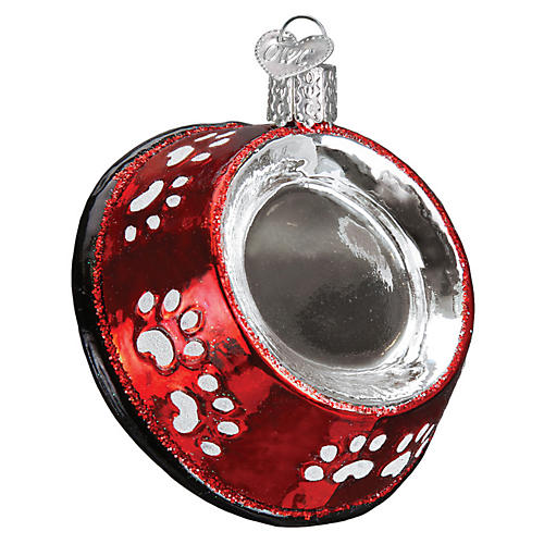 Dog Bowl Ornament, Red/Silver