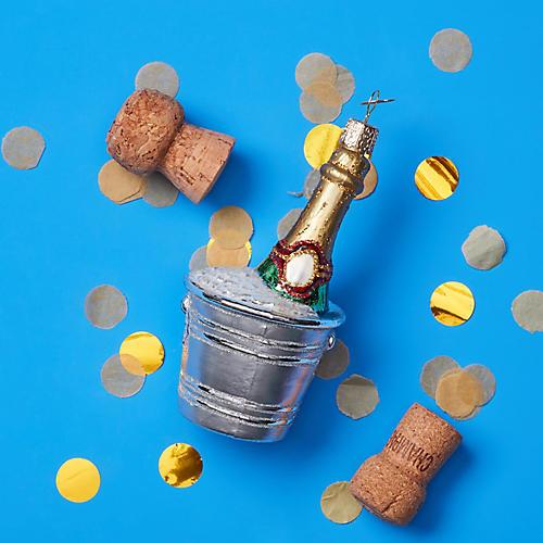 Chilled Champagne Ornament, Silver/Multi