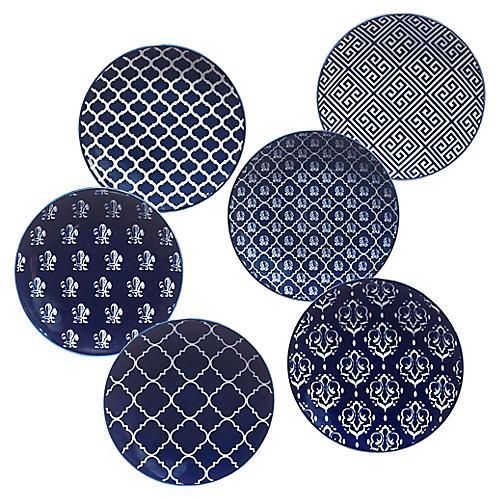 S/6 Mara Canapé Plates, Blue