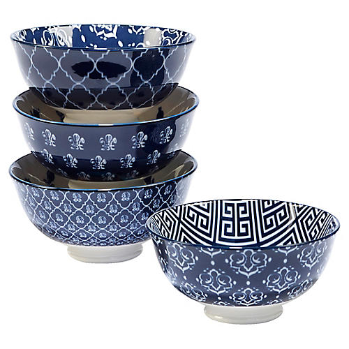 S/4 Mara Ice Cream Bowls, Blue