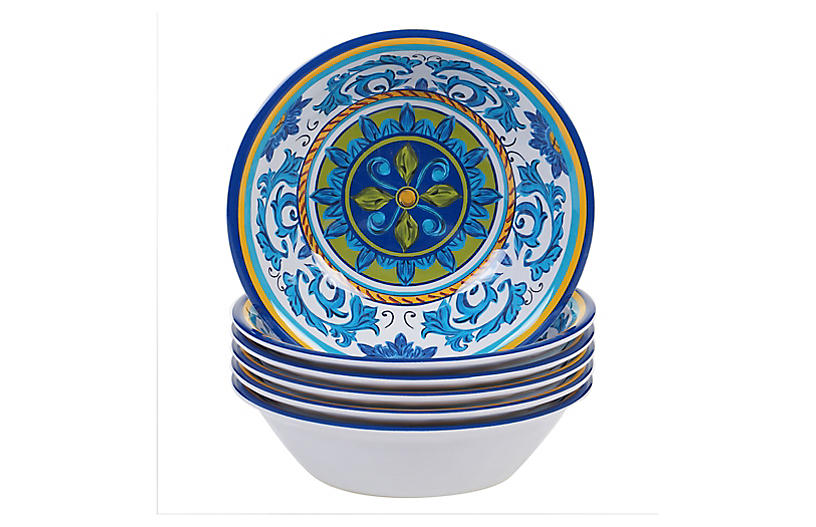 S/6 Luna Melamine Bowls, Blue/Green