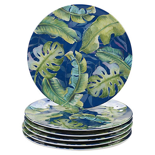 S/6 Almeida Melamine Dinner Plates, Blue/Green