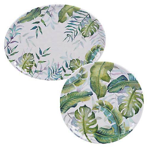Asst. of 2 Almeida Melamine Platters, Blue/Green