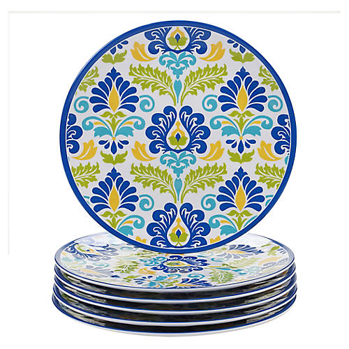 S/6 Palmer Melamine Dinner Plates, Blue/Green