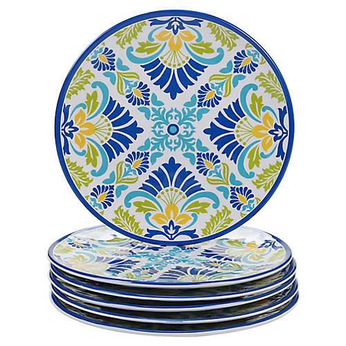 S/6 Palmer Melamine Salad Plates, Blue/Green
