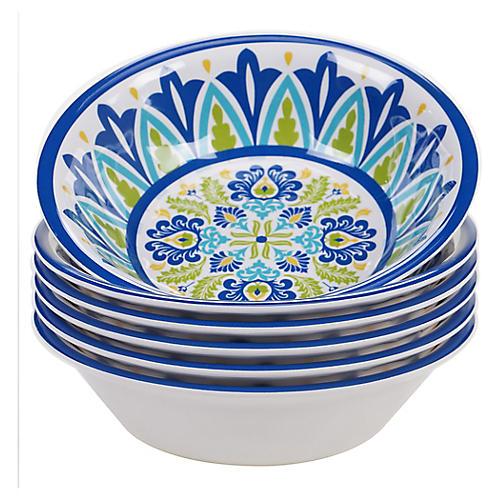 S/6 Palmer Melamine Bowls, Blue/Green