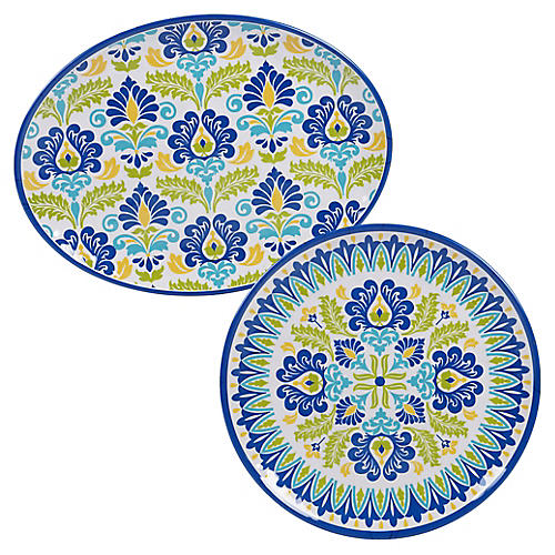 Asst. of 2 Palmer Melamine Platters, Blue/Green