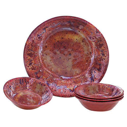 Asst. of 5 Morrison Melamine Salad Bowls, Red