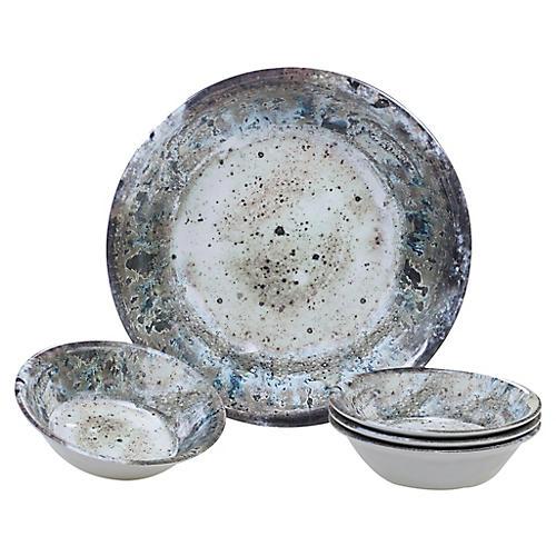 Asst. of 5 Morrison Melamine Salad Bowls, Cream
