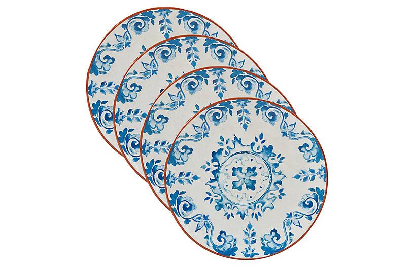 S/4 Positano Salad Plates, Blue/White