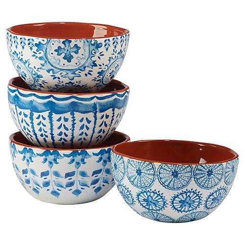 S/4 Positano Ice Cream Bowls, Blue/White
