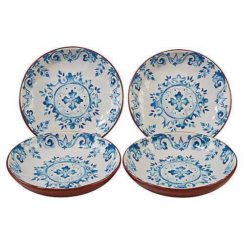 S/4 Positano Soup Bowls, Blue/White