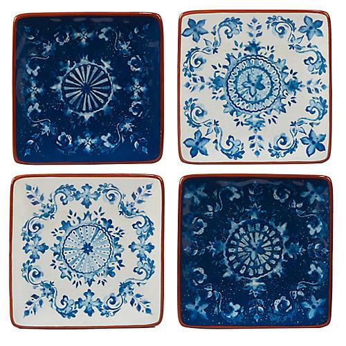 S/4 Positano Canapé Plates, Blue/White