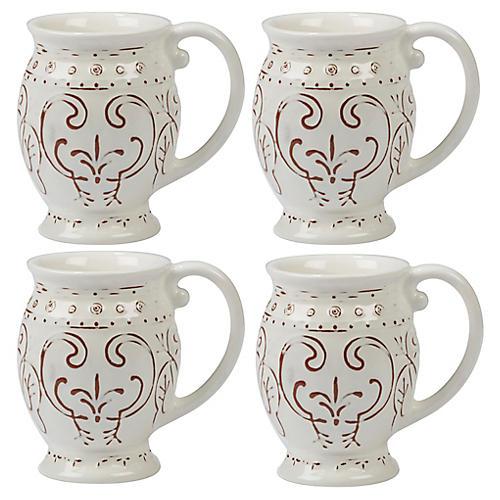 S/4 Ravello Mugs, White