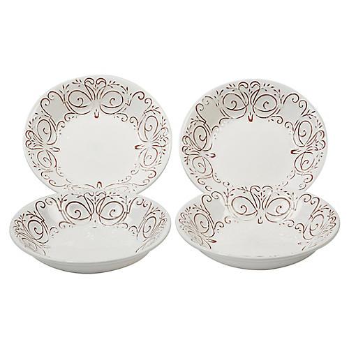S/4 Ravello Soup Bowls, White