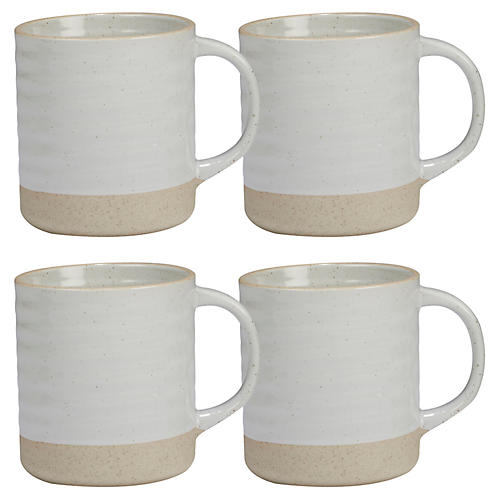 S/4 Berkin Mugs, White/Tan