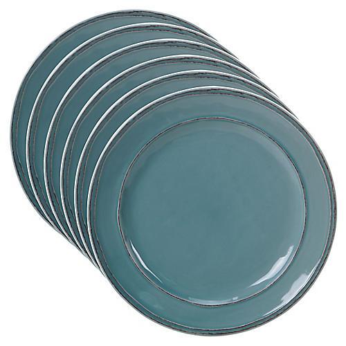 S/6 Misha Salad Plates, Teal