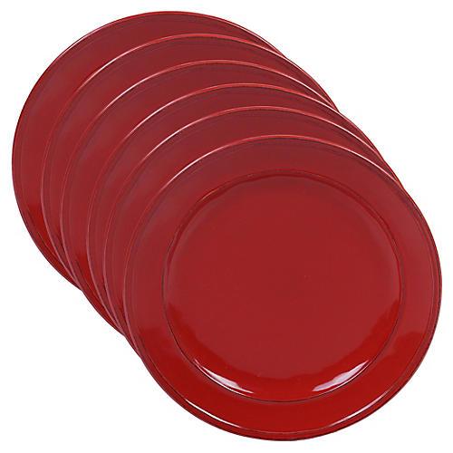 S/6 Misha Salad Plates, Red