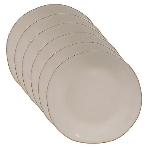 S/6 Salerno Salad Plates, Cream