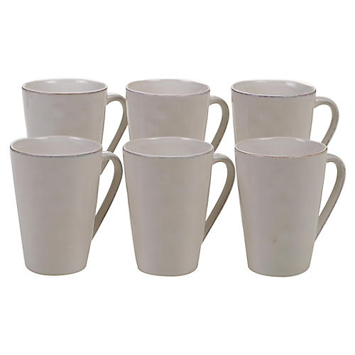 S/6 Salerno Mugs, Cream