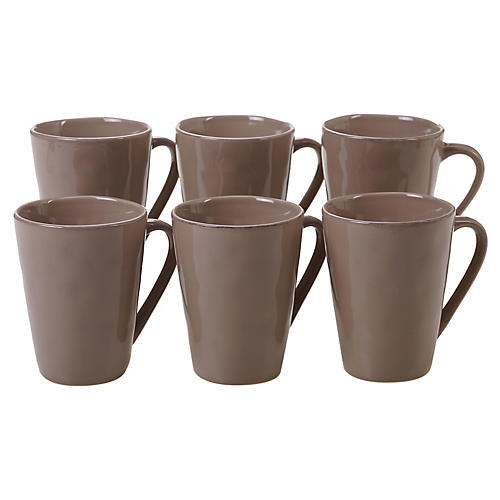 S/6 Salerno Mugs, Taupe