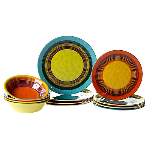 Asst. of 12 Jude Melamine Place Setting, Yellow
