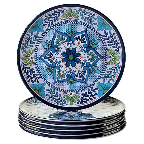S/6 Raver Melamine Dinner Plates, Blue/Green