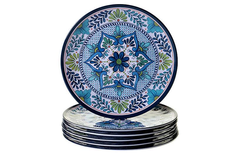 S/6 Raver Melamine Dinner Plates, Blue/Green