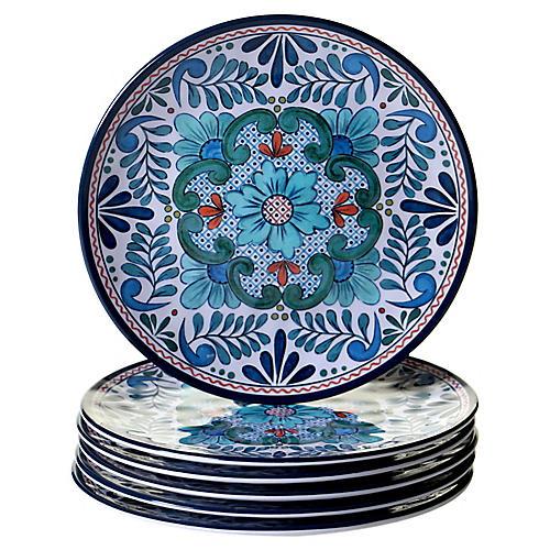 S/6 Raver Melamine Salad Plates, Blue/Green