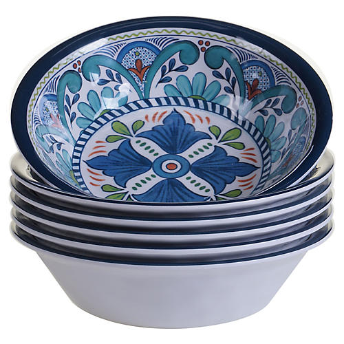 S/6 Raver Melamine Bowls, Blue/Green