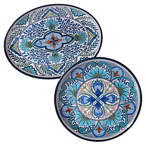 Asst. of 2 Raver Melamine Platters, Blue/Green
