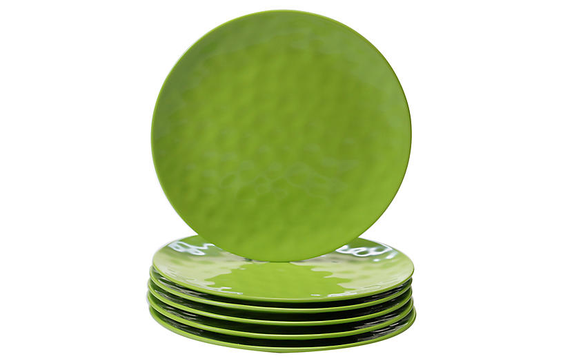 S/6 Wayne Melamine Dinner Plates, Green
