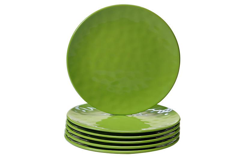 S/6 Wayne Melamine Salad Plates, Green