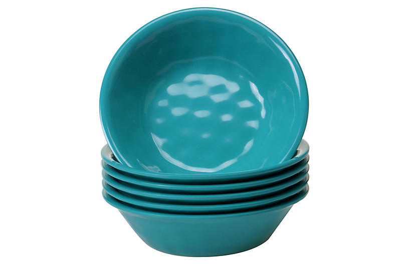 S/6 Wayne Melamine Bowls, Teal