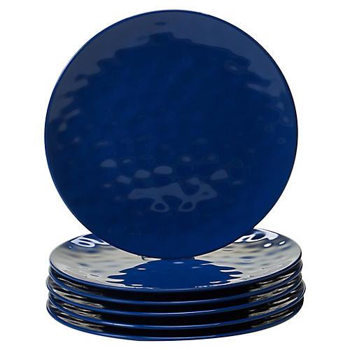 S/6 Wayne Melamine Dinner Plates, Cobalt