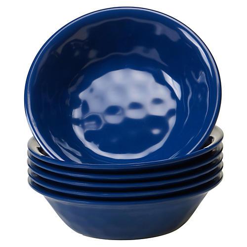 S/6 Wayne Melamine Bowls, Cobalt
