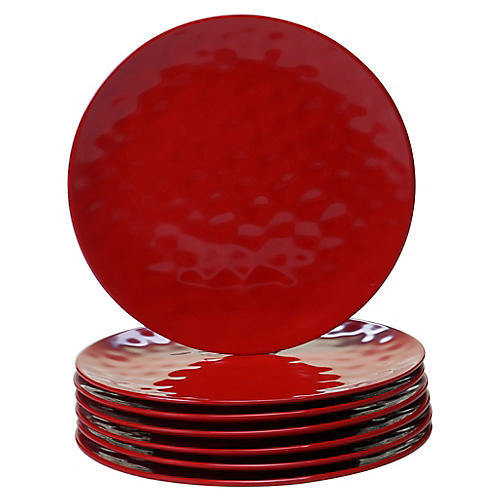 S/6 Wayne Melamine Dinner Plates, Red