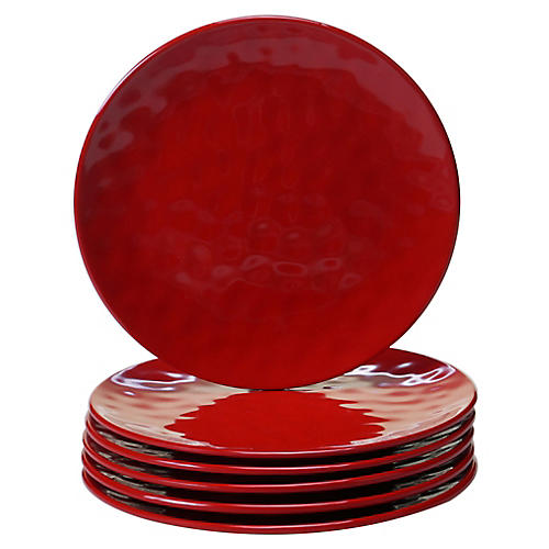 S/6 Wayne Melamine Salad Plates, Red