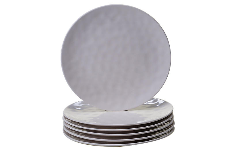 S/6 Wayne Melamine Dinner Plates, Cream