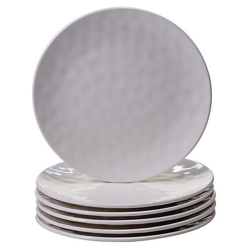 S/6 Wayne Melamine Salad Plates, Cream