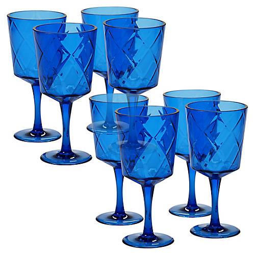 S/8 Drazen Acrylic Goblet Set, Cobalt