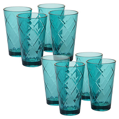 S/8 Drazen Acrylic Glass Set, Teal