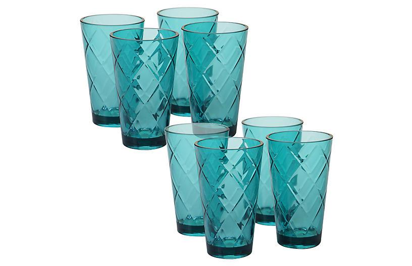 S/8 Drazen Acrylic Glass Set, Teal