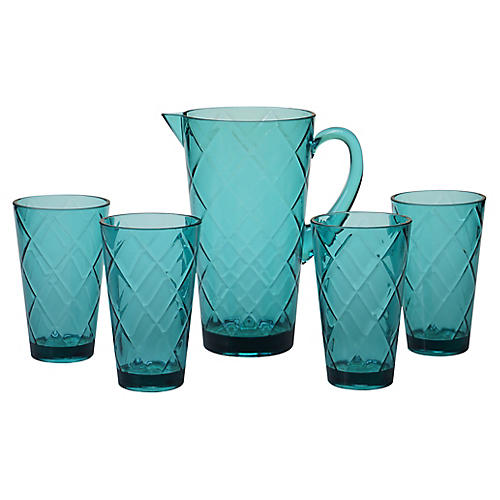 Asst. of 5 Drazen Acrylic Drinkware Set, Teal