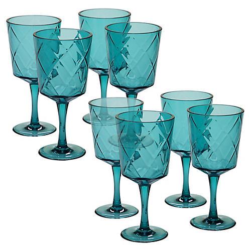 S/8 Drazen Acrylic Goblet Set, Teal