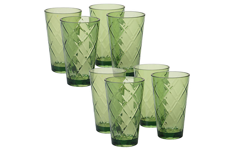 S/8 Drazen Acrylic Glass Set, Green