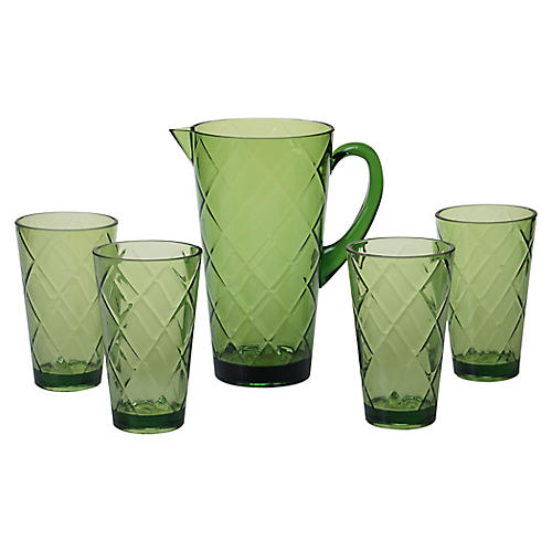 Asst. of 5 Drazen Acrylic Drinkware Set, Green