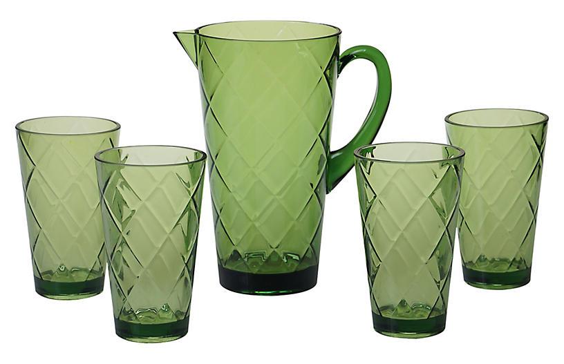 Asst. of 5 Drazen Acrylic Drinkware Set, Green